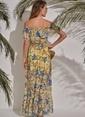 Morhipo Beach Desenli Elbise Sarı